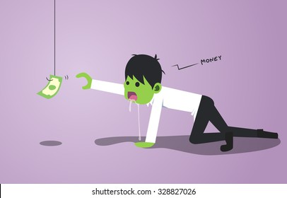 Zombie businessman crawling and try to clutch money.