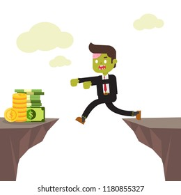 zombie businessman falling to pit