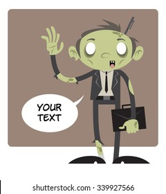 Zombie Cartoon Character #01 - The zombie businessman is standing alone with a text bubble, waving with his hand and holding a briefcase