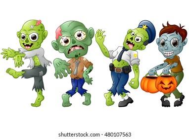 Zombie cartoon Halloween costumes. Vector illustration