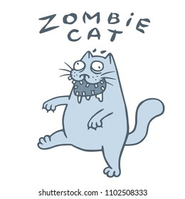 Zombie cat goes in search of the brain. Genre of horror. Nightmare character. Vector illustration.
