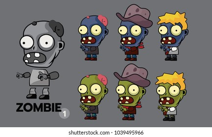 Zombie character cartoon style sprites set, runner, cowboy and office man concept. Asset for create animation and shooter, action and adventure video game. Vector illustration