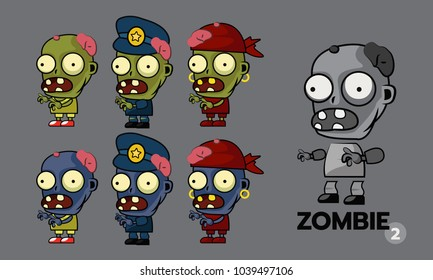 Zombie character cartoon style sprites set, runner, police and  pirate concept. Asset for create animation and shooter, action and adventure video game. Vector illustration