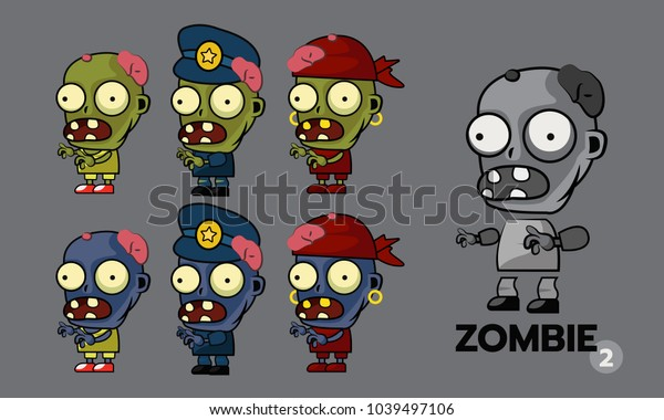Zombie Character Cartoon Style Sprites Set Stock Vector