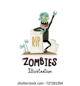 Zombie character near rip gravestone in cartoon style. Halloween undead banner, horror monster personage, zombie apocalypse concept, cute walking dead isolated on white background vector illustration