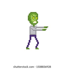 zombie character pixel art icon. Element design for logo, stickers, web, embroidery and mobile app. Isolated vector illustration. 8-bit sprite.