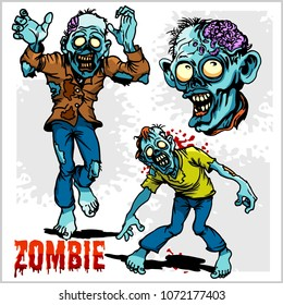 Zombie Comic Set - Cartoon zombie. Set of color drawings of zombies on white background.