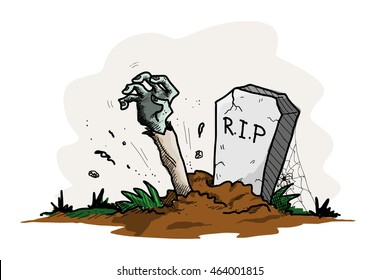 Zombie Coming Out of A Grave, a hand drawn vector illustration of a grave with the arm of a zombie sticking out from the ground.