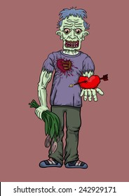 the zombie costs holding in hand flowers and heart in love