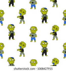 Zombie cute cartoon kid seamless pattern. Funny green beings on white background.