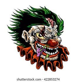 zombie evil clown.vector illustration.