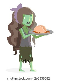 a zombie girl with a brain in a plate