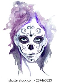 Zombie girls head. Sugar Skull Face Paint. Watercolor vector illustration