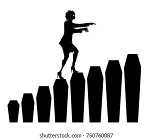 Zombie goes on coffins. Holiday Halloween. Coffins steps. Career ladder. Black silhouettes. Dead woman rises. The coffins of various sizes. Vector Image. All elements on layers.
