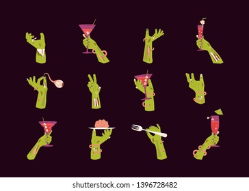 Zombie green hands holding a Cocktail and Rising Out Of A Grave Scary. Halloween celebration design set isolated. Flat Art Vector illustration