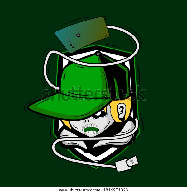 Zombie with green hat and cable vector illustration for tees in halloween party