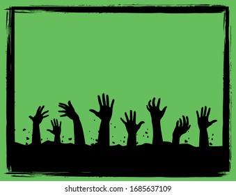 Zombie halloween frame vector green
