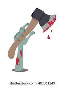 Zombie hand appears with axe in blood isolated on white. Horrible arm of undead human creature. Happy Halloween concept in flat style. Science fiction cartoon illustration. Horror fantasy. Vector