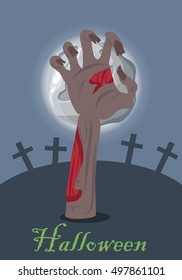Zombie hand appears from grave with stone. Night at the cemetery. Horrible arm of undead creature. Happy Halloween concept in flat style. Science fiction cartoon illustration. Horror fantasy. Vector