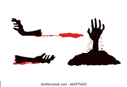 Zombie hand with blood bleeding and out of grave. Illustration in 3 action in set isolated on white.