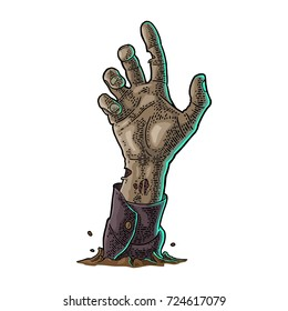 Zombie hand with claw. Vector color vintage engraving illustration. Isolated on white background. For invitation and poster Halloween party.