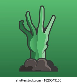 Zombie hand dig out from grave vector on green gradient background