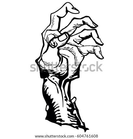 Zombie Hand Emerging Ground Cartoon Illustration Stock Vector
