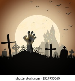 zombie hand in front of a castle and a full moon with grave stones and other scary illustrated elements for Halloween background layouts
