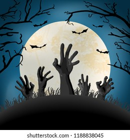 zombie hand in front of full moon with scary illustrated elements for Halloween background layouts