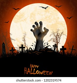 zombie hand in front of full moon with grave stones and other scary illustrated elements for Halloween background layouts