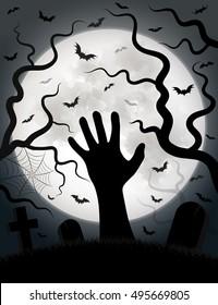 Zombie hand Halloween bats moon cemetery night