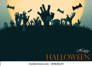 zombie hand Halloween greeting card
