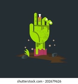 zombie hand from hell. undead hand - vector illustration