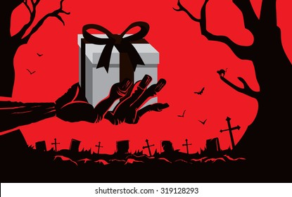 Zombie hand holding gift box front the grave in the cemetery at night. This illustration is Halloween theme