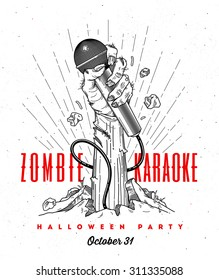 Zombie hand with microphone from ground -  line art invitation for halloween karaoke party