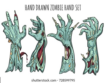 Zombie hand set isolated on white background. Grab reaching zombies arms with blood and decay vector illustration