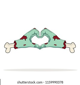 Zombie Hand  shaped heart Love Symbol