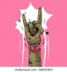 Zombie hand shows rock gesture, hand drawn vector illustration