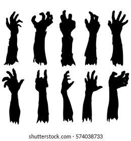 Zombie Hand Silhouette. Clip Art Design Vector. Halloween Scary Grave. Arm Monster Dead.