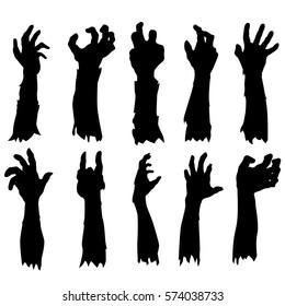Zombie Hand Silhouette Clip Art Design Vector