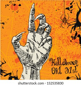 Zombie hand in vector on orange background with web