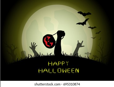 Zombie hands holding pumpkin basket and love sign rising out from the grave in the Halloween night illustration.