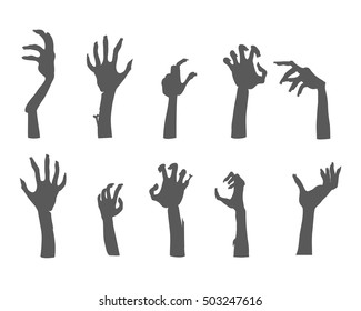 Zombie hands sticking out from the ground. Various damaged and dried human limbs appear from the grave flat vector illustrations isolated on white. Undead arises on cemetery. For Halloween party decor
