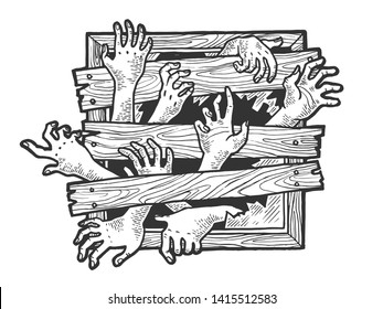 Zombie hands are trying to get through boarded window sketch engraving vector illustration. Scratch board style imitation. Black and white hand drawn image.