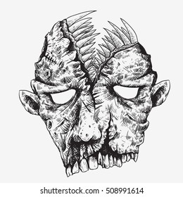 zombie head skull with scary mouth on the head full of canines sketch line art