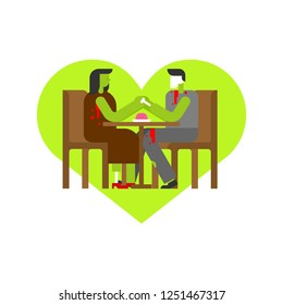 Zombie Love. Dead Date at table hold hands. rendezvous in cafe. Man and woman.