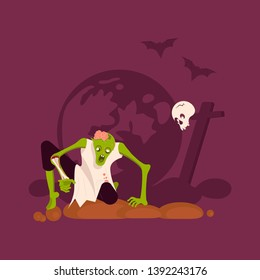 Zombie man gets out of the grave on cemetery background Concept. Halloween Nightmare landscape with dead people. Panorama of undead monster and gravestone. Flat Art Vector illustration