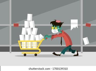 Ein Zombie-Mann im Supermarkt trägt einen Trolley mit Toilettenpapier