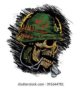 zombie with military helmet