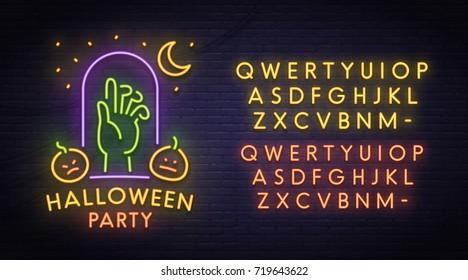Zombie neon sign, bright signboard, light banner. Halloween party logo, emblem. Neon sign creator. Neon text edit